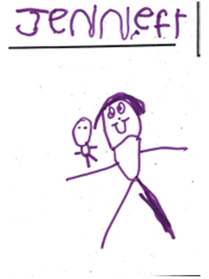 A child's drawing in purple marker of a girl holding a doll