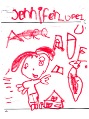 A child's drawing showing a girl with a house and painting tools in red marker.