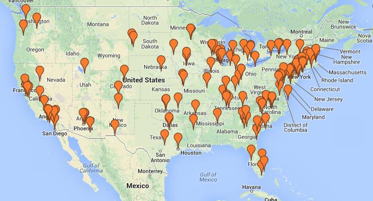 Map of Parent University Locations